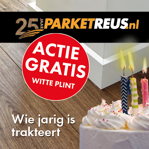 PARKETREUS - ACTIE GRATIS WITTE PLINT